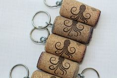 Octopus  recycled wine cork key chains  5  Black by TheWoodenBee