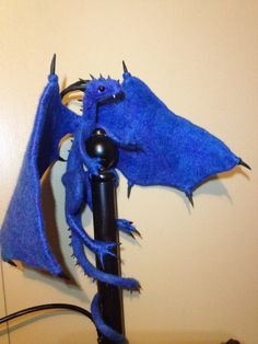 Needle felt and polymer clay dragon in blue
