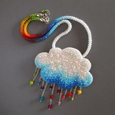 It's rainy day. #beadembroidery #pendant #brooch #handmade #beads #cloud #rain #rainbow #samazrobilam