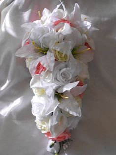 Items similar to Cascade bridal bouquet white ivory and deep blush pink 2 pieces on Etsy Cascading Bridal Bouquets, Cascade Bouquet, Wedding Bouquets, Groom Boutonniere, Peonies, Blush Pink, Coral, Lily, Ivory