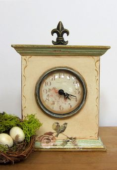 Shabby Chic Clock with Blue Birds and Pink Roses