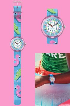 SPLASHTASTIC (ZFBNP154) is a sporty blue watch for kids who love the pool. With its printed pink and green aquatic animals, the aquatic theme makes it a one-of-a-kind gift. The digital printed dial of this unique wrist watch for kids is encrusted with glittering crystals from Swarovski®, and these are complemented by the practical textile strap, which is machine washable at 40°C. Pink And Green, Blue, Beach Mat, Swatch, Bracelet Watch, Swarovski, Outdoor Blanket, Sporty, Textiles
