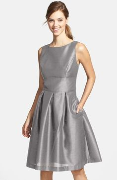 Alfred Sung Dupioni Fit & Flare Dress | Nordstrom