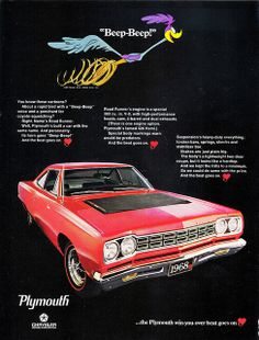 "1968 Plymouth Road Runner ""Beep-Beep!"" Ad by aldenjewell, via Flickr"