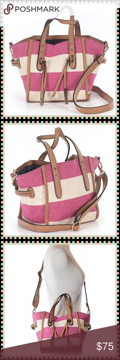 """LIKE NEW!🎀Fuchsia Striped Tommy Hilfiger Bag🎀 Fabulous and Functional Bag! Fuchsia & Ecru Striped accented with tan leather with gold hardware. Roomy navy interior with one large center center zip compartment and an additional large zip pocket. 2 interior open slip pockets as well. Approximate Measurements: Top Length-12"""" Bottom Length-8"""" Height-8"""" Depth-5"""" Strap Drop-5"""" Adjustable Shoulder/Cross Body Strap. Tommy Hilfiger Bags Satchels"""