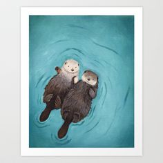 Otterly Romantic - Otters Holding Hands Art Print by When Guinea Pigs Fly - $18.00
