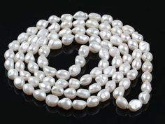 Long Style 12-13mm White Baroque Freshwater Pearl Beaded Necklace
