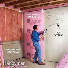 Turn your unfinished basement into beautiful, functional living space. Framing basement walls and ceilings is the core of any basement finishing project. Learn how to insulate and frame the walls and ceilings, build soffits, frame partition walls and fram Insulating Basement Walls, Framing Basement Walls, Basement Insulation, Basement Flooring, Basement Ceilings, Wall Insulation, Flooring Ideas, Painting Basement Walls, Insulation Installation