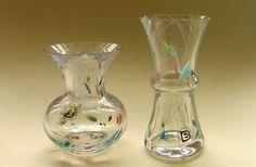 Confetti Range FT346/RW Mini Etruscan Vase & FT343/RW Mini Diabolo Vase - Original design by Frank Thrower for Dartington Glass & Confetti Range design by Rachel Woodman 1985