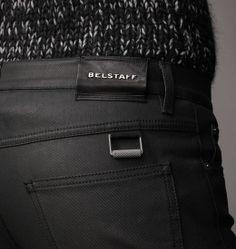 Belstaff | Mens Dry Coated Denim Earlham Jean | Mens Designer Trousers, Denim & Jeans Patched Jeans, Jeans Denim, Raw Denim, Punk Fashion, Denim Fashion, Audrey Hepburn, Men Trousers, Belstaff, Fashion Labels