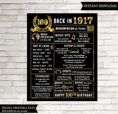 100th Birthday Chalkboard Sign Poster - INSTANT DOWNLOAD - This chalkboard birthday sign is wonderful for someone born in 1917. It really makes a great gift for a 100th birthday. Perfect gift for anyone that is hard to buy for! **this is a digital download only. Nothing will be shipped to you. You will receive a digital 16x20 JPEG file & an 8x10 JPEG file shortly after your payment has gone through. 2 SIZES INCLUDED Once you have received your final files, you can take the files to yo...
