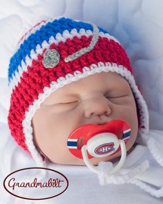 Red, Royal Blue and White Crocheted Hockey Helmet Hat by Grandmabilt, $21.00