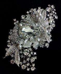 Brooch      (via Bridal Dress Sash Brooch Swarovski Wedding Jewelry Art by YJDesign)
