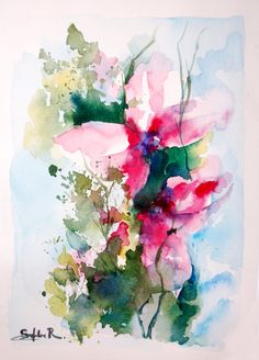 Original Watercolor Abstract Painting. Abstract Modern Floral Painting Art. Pink Green Light Blue. Nature Abstract Painting.    Passionate Ensemble