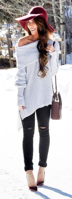 #winter #fashion /  Burgundy Hat / Grey Off Shoulder Knit / Black Ripped Skinny Denim / Black Pumps
