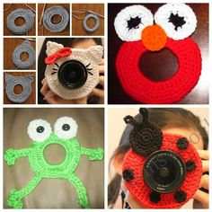 Here is a great idea for Grabbing kids's attention when taking photos of them – crochet cute camera lense friends/buddy . PLEASE SHARE ! Check all 9 FREE PATTERNS--> http://wonderfuldiy.com/wonderful-diy-adorable-crochet-camera-lens-friends/ More #DIY projects: www.wonderfuldiy.com.