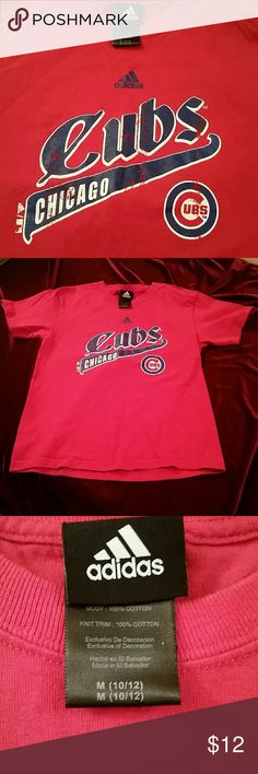 Chicago Cubs Adidas red t shirt kids 10/12 This has been worn, look at the pictures the logo is worn, I think that makes it look awesome, plus is proves you didn't buy it brand new, you have always been a Cubs fan, lol Adidas Shirts & Tops Tees - Short Sleeve