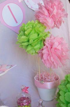 tissue pom poms (easy!) So cute for a shower or 1st Birthday!