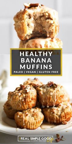 These Gluten Free and Vegan banana muffins are made with almond and tapioca flours, no refined sugar and flax eggs. The center comes out a little gooey and the outer edges are golden brown. And with the dreamy maple pecan glaze, you're going to love this healthy banana muffin recipe! Healthy Banana Muffins, Gluten Free Banana, Gluten Free Muffins, Vegan Gluten Free, Vegan Muffins, Banana Muffins No Sugar, Banana Bread, Dairy Free, Real Food Recipes