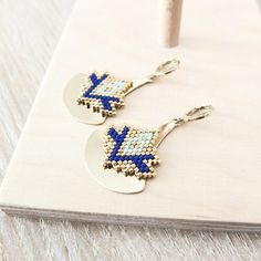 Shop and discover emerging brands from around the world Big Earrings, Beaded Earrings, Peyote Stitch Patterns, Brick Stitch Earrings, Bead Crafts, Bead Art, Bead Weaving, Seed Beads, Beading