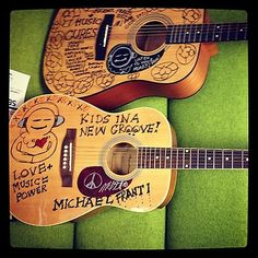 These guitars are available for auction to support music lessons/instruments/mentoring for foster children. For info www.kidsinanewgroove.com