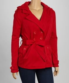 Yoki. So cute! $19.99    Red Fleece Hooded Peacoat - Plus #zulily #zulilyfinds