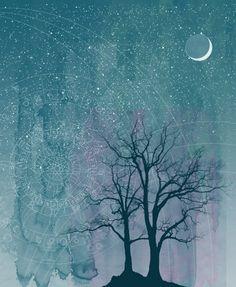 Waxing Crescent Moon la-bella-luna-art