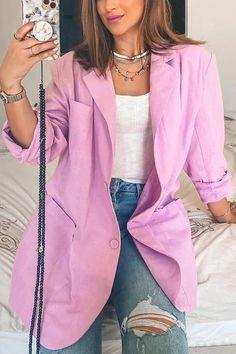 Orange And Purple, Yellow Black, Orange Color, Boyfriend Blazer, Real Beauty, Duster Coat, Bell Sleeve Top, Fashion Coat