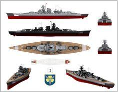 Imágenes 3D del Bismarck con su aspecto durante la Operación Rheinübung.