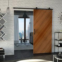 LUNA SET: Heavy duty mechanism for sliding wooden door … – Door Types Style Loft, House Inside, Types Of Doors, Steel Doors, Wooden Doors, Door Design, Industrial Style, Tall Cabinet Storage, Curtains