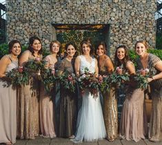 Mismatched Metallic Bridesmaid Dresses: It's the little things that make your big day special. Pick a detail that you want to carry through your dress choices to tie them all together. Not only do these gold and nude color palettes work together, but these dresses all feature beautiful beadwork! | Mismatched Winter Bridesmaid Dresses