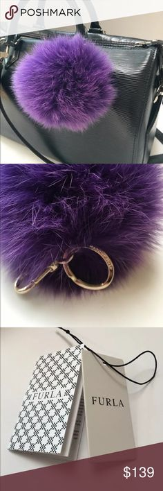 New furla bubble pompom fur keychain bag charm Brand New  Furla Bubble keyring Viola (purple)  100% fur.  Light gold colored keyring. Measures approximately 5 inches in diameter. Perfect for bags or keys! Made in Italy. Authentic.   Handbag not included Furla Accessories Key & Card Holders
