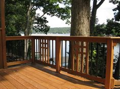 Mission Style Ipe Deck With Custom View Privacy Walls Traditional Porch