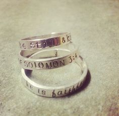Personalized hand stamped rings by emilyolivecollection. Explore more products on http://emilyolivecollection.etsy.com
