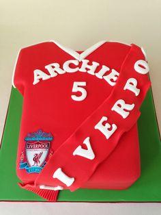 Liverpool football shirt cake Man Birthday, Birthday Cakes, Birthday Ideas, Fondant Cakes, Cupcake Cakes, Football Themed Cakes, Liverpool Cake, Soccer Cakes, Shirt Cake