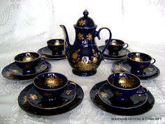 Vtg German Bavaria Bareuther Waldsassen China Porcelain Tea Coffee Set Cobalt 3 | eBay