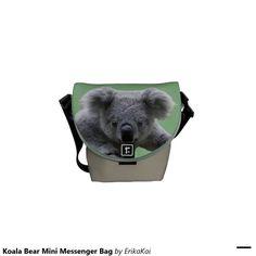 Koala Bear Mini Rickshaw Messenger Bag. Water resistant, extra durable. Interior and binding 20 color options.