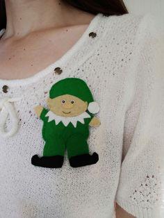 Elf brooch, elf badge, Christmas brooch, Christmas lovers gift, £5.10 Lovers Gift, Gift For Lover, Christmas Accessories, Metal Bar, Black Boots, Elf, Christmas Sweaters, Badge, Unique Gifts