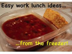 Ideas of easy lunches to take to work - just pull from freezer & go. -Love this idea: chili and cornbread Healthy Lunch To Go, Low Carb Lunch, Healthy Lunches, Freezer Cooking, Freezer Meals, Easy Healthy Recipes, Lunch Recipes, Easy Lunches For Work, Chili And Cornbread