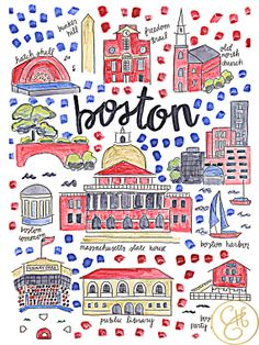 Boston Map Print by EvelynHenson on Etsy
