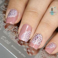 Mattified metallic nail art stamping using Delush Polish's Enchanted stamping plate.
