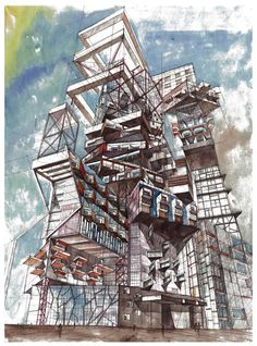 Flying over the city of the future - ArtKrasnov - Drawings & Illustration, Buildings & Architecture, City, Skyscrapers - ArtPal Architecture Concept Drawings, Pavilion Architecture, Architecture Design, Cyberpunk Art, Layout, Cool Wallpaper, Painting & Drawing, City Photo, Sketches