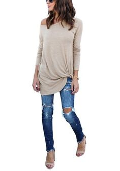 Keep your look casual yet super stylish and fab when you wear this chic apricot front twist knot long sleeves crew neck blouse.