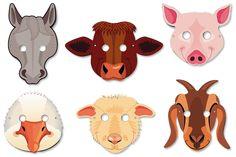 Set de 8 masques animaux de la ferme pré-décorés en carton