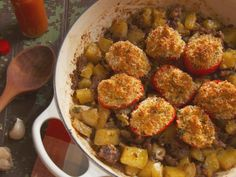 Sausage and Bacon Hash with Baked Tomatoes Recipe : Nancy Fuller : Food Network - FoodNetwork.com (22 March 2015)
