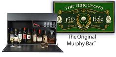 Introducing the original personalized Murphy Bar™. At first glance it's a beautiful piece of wall art. then voilà! it opens to a bar. Murphy Bar, 19th Hole, Drywall Screws, Easy Wall, Leather Journal, Game Room, Gifts For Women, Beverage, Personalized Gifts