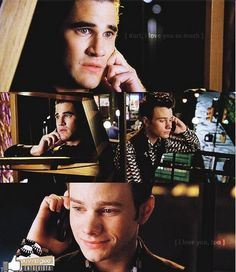 Look at that sad smile on Kurt's face!  Those two boys are so in love with each but have been hurt so bad.  I love that Kurt is reaching out to Blaine to still be friends at least.  And I love that Blaine answers the phone call because in a Christmas episode he promises Kurt to always pick up his phone calls, no matter what he is doing <3