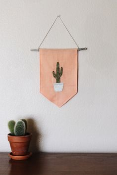 Potted Cactus Embroidered Wall Hanging Banner