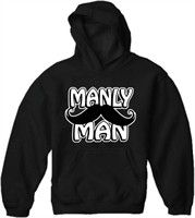 Manly Man Mustache Adult Hoodie. The largest selection of funny and offensive novelty hoodies are here! Our novelty hoodies are funny and to the point and designed to look great and get the point across. Wear our selection of humorous joke hoodies to a house party, school, the club or even just around the house. Each design has been hand selected by our team of humorist so you are sure to get all