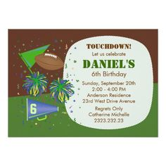 Football Touchdown Children's Birthday Party Personalized Invitations